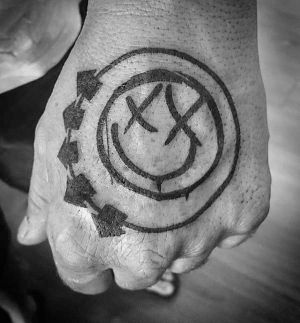 Masculine Blink 182 Hand Tattoos For Men