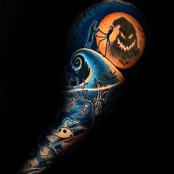 Masculine Blue And Orange Night Before Christmas Mens Themed Sleeve Tattoo