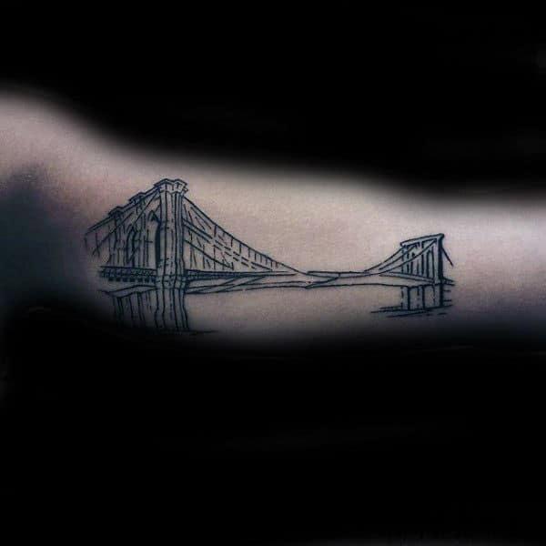 Masculine Brooklyn Bridge Detailed Mens Inner Arm Tattoos