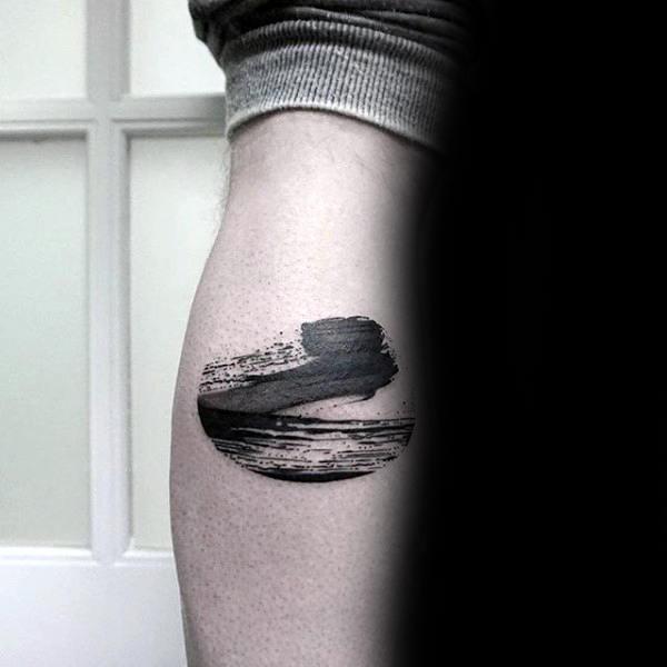 Masculine Brush Stroke Leg Calf Male Tattoo Ideas