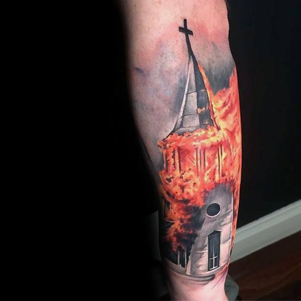 Masculine Burning Church Tattoos For Men