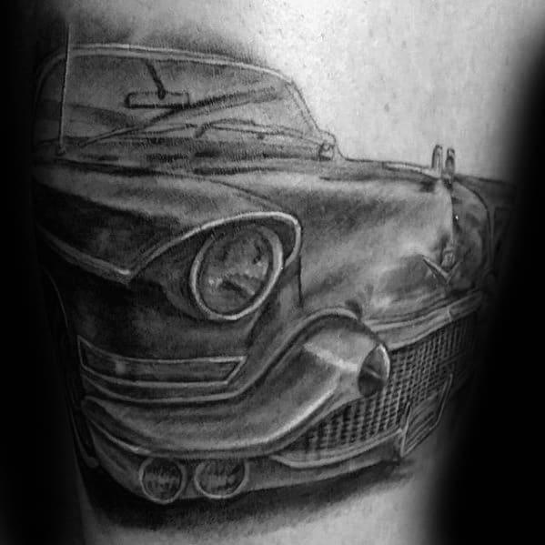 Masculine Cadillac Black And Grey Ink Car Guys Arm Tattoo
