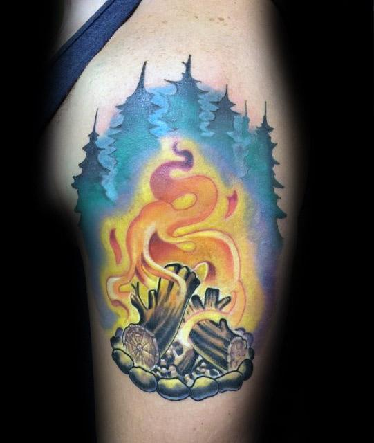 Masculine Campfire Tattoos For Men