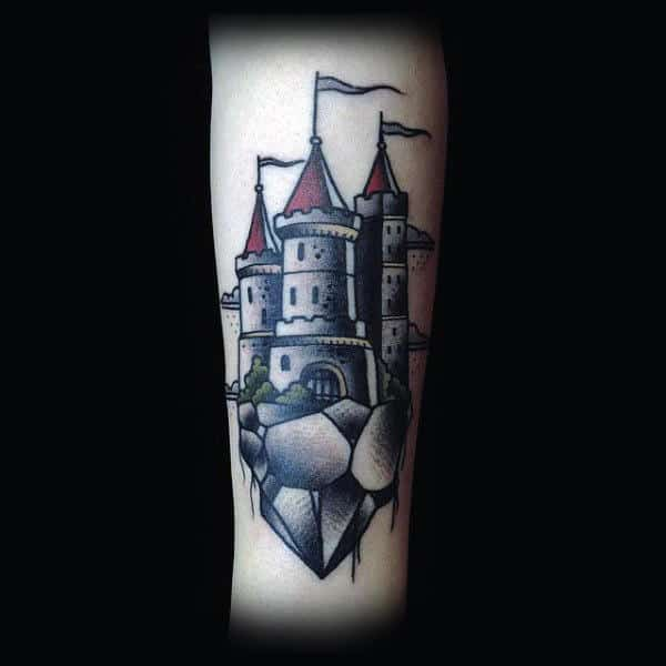Masculine Castle Tattoos For Men On Forearm
