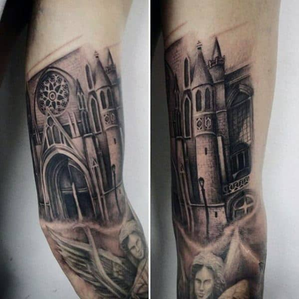 Masculine Cathedral Tattoos For Men