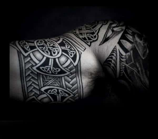 Masculine Celtic Knot Inner Arm Bicep Tattoo On Male