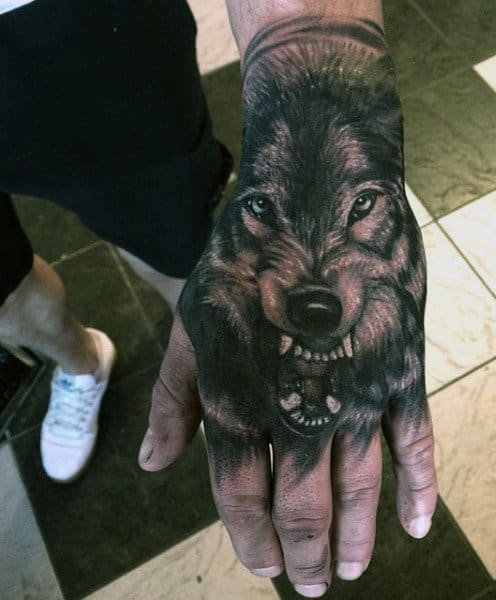 Masculine Celtic Wolf Tattoo For Men On Hands