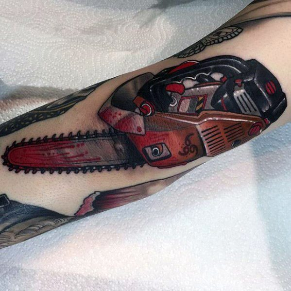 Masculine Chainsaw Tattoos For Men