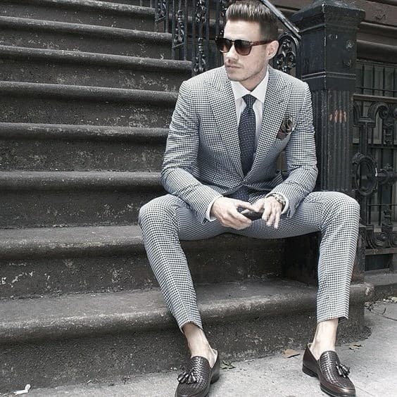 Masculine Charcoal Grey Suit Brown Shoes Male Style