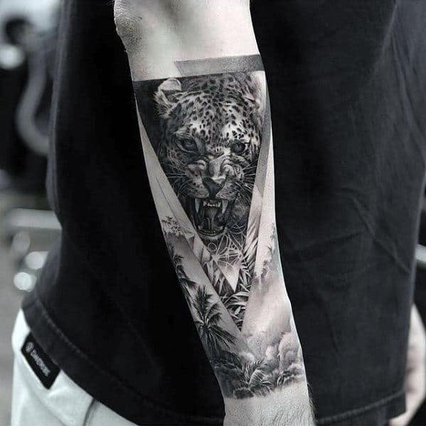 Masculine Cheetah Jungle Triangle Mens Outer Forear Tattoo
