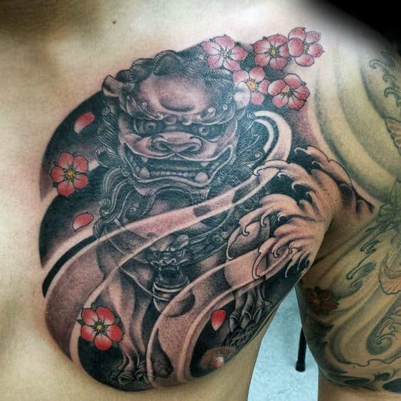 Masculine Chest Cherry Blossom Fu Dog Male Tattoos