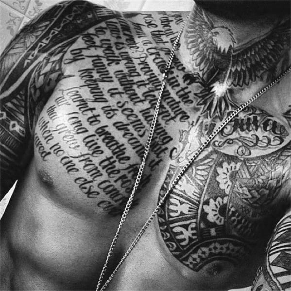 Masculine Chest Quote Tattoo Design Ideas For Men