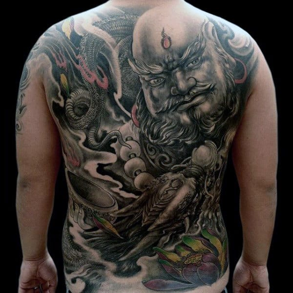 Masculine Chinese Mens Full Back Tattoo Design
