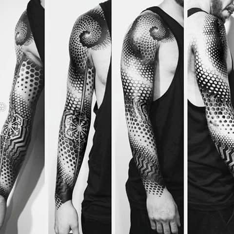 Masculine Circles And Dots Geometric Sleeve Tattoos For Men