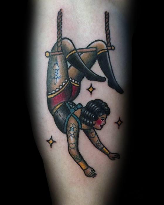 Masculine Circus Tattoos For Men On Leg