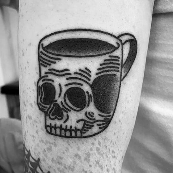 Masculine Coffee Cup Skull Themed Arm Tattoos For Men