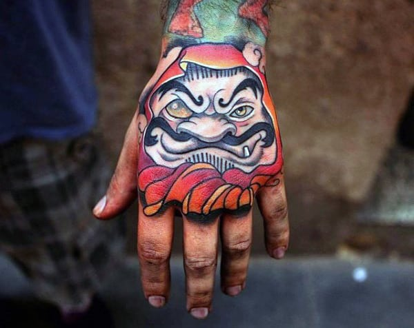 Masculine Daruma Doll Guys Hand Tattoo Ideas