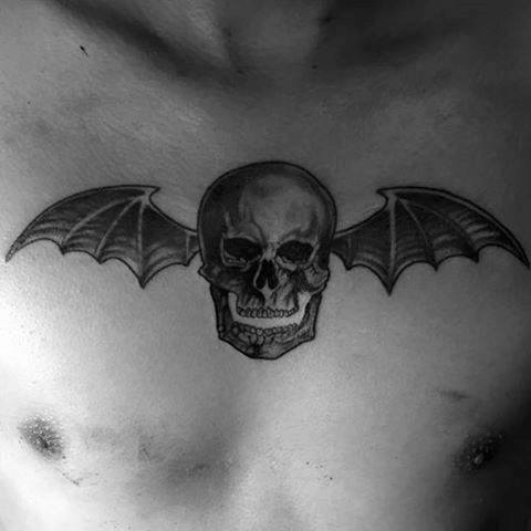 Masculine Deathbat Guys Avenged Sevenfold Tattoo Design On Upper Chest
