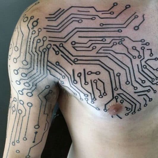 masculine digital electronic circuit board chest and arm mens tattoos 60 circuit board tattoo designs for men electronic ink ideas 3 Wire Electrical Wiring Diagram at suagrazia.org