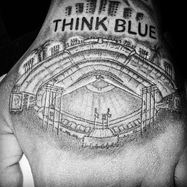 Masculine Dodgers Tattoos For Men Baseball Stadium Design On Hands