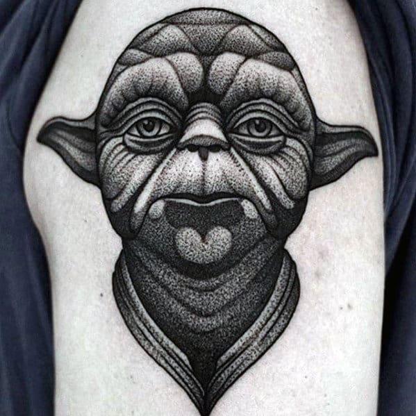 Masculine Dotwork Yoda Guys Upper Arm Tattoos