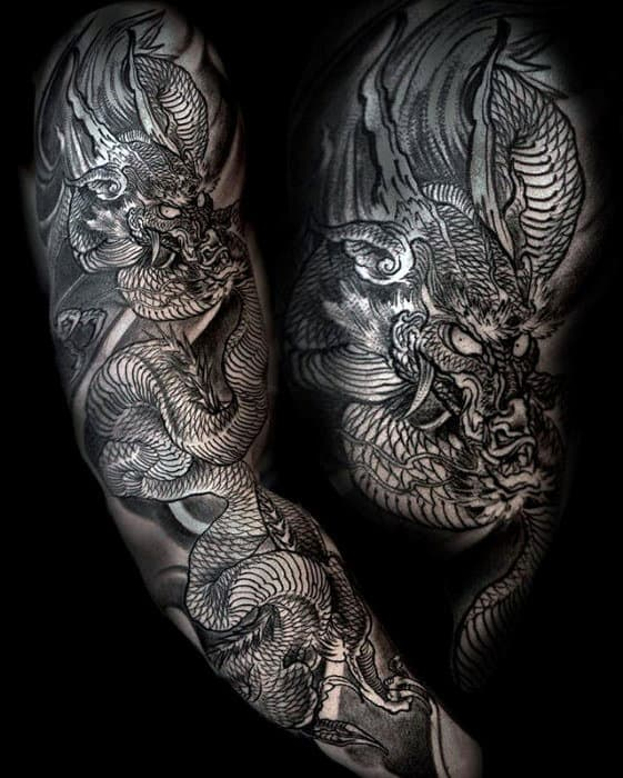 Masculine Dragon Full Arm Guys Tattoo Design Ideas