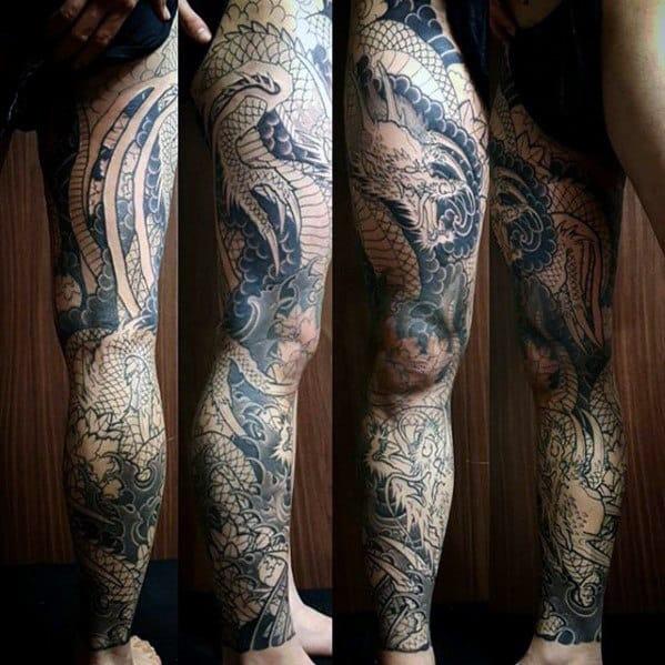 Masculine Dragon Themed Guys Full Leg Sleeve Tattoo Designs