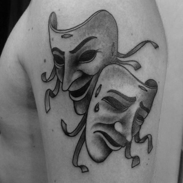 Masculine Drama Mask Tattoos For Men Upper Arm