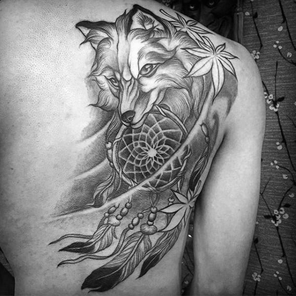 Masculine Dreamcatcher Back Tattoos For Guys With Japanese Leaves
