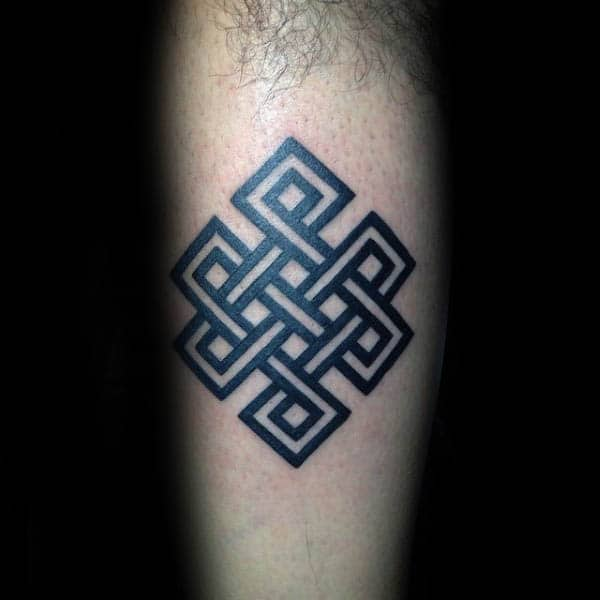 Masculine Endless Knot Inner Forearm Male Tattoos