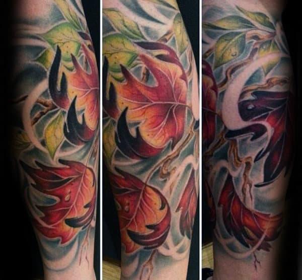 Masculine Falling Leaves Mens Fall Forearm Sleeve Tattoo