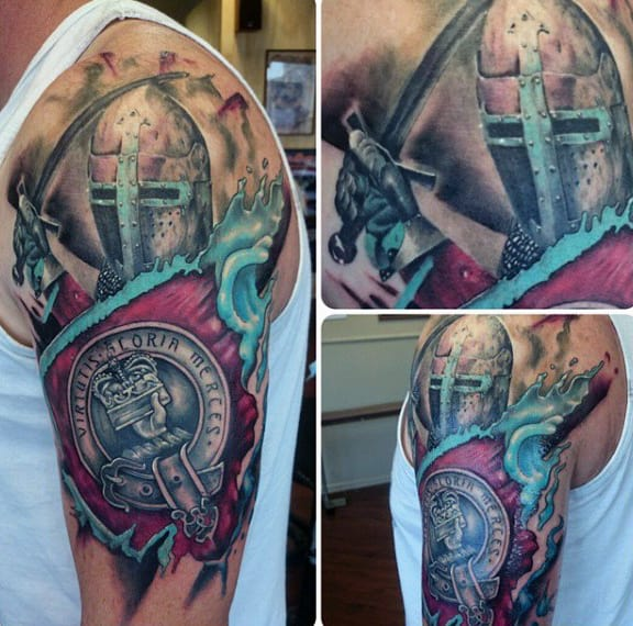 Masculine Family Crest Tattoos For Men