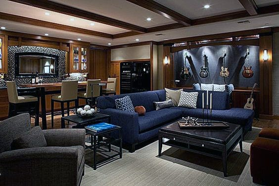 Masculine Finished Basement Remodel Design Inspiration For Guys