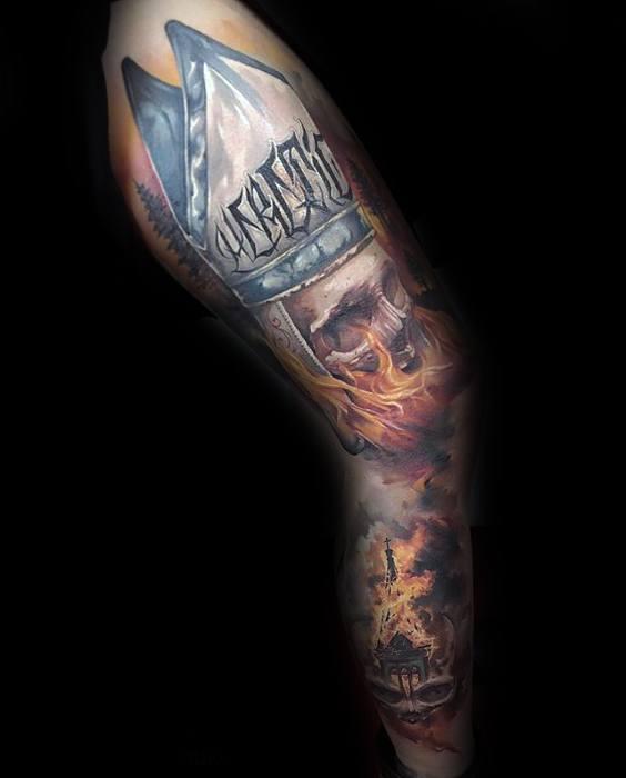Masculine Flaming Skull Tattoos For Men Full Arm Sleeve