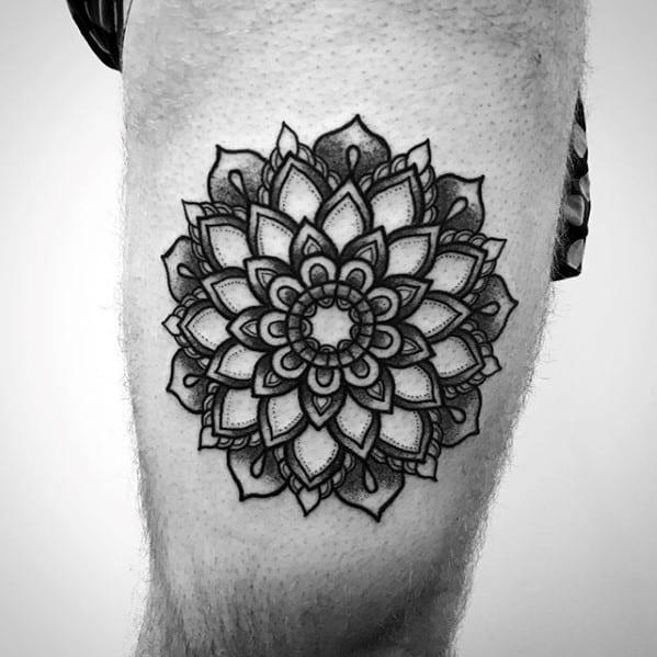 Masculine Flower Mandala Tattoos For Men