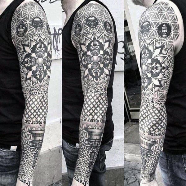 Masculine Flower Of Life Full Sleeve Tattoo On Male