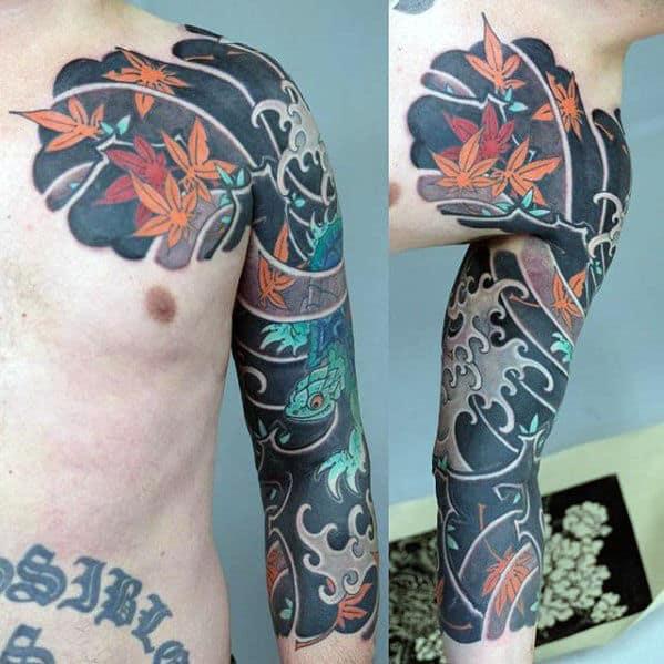 Masculine Flying Leaves In Wind Half Sleeve Japanese Tattoos For Men