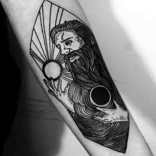 Masculine Forearm Mens Sun Moon Tattoo
