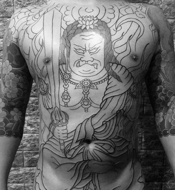 Masculine Fudo Myoo Chest Tattoos For Men