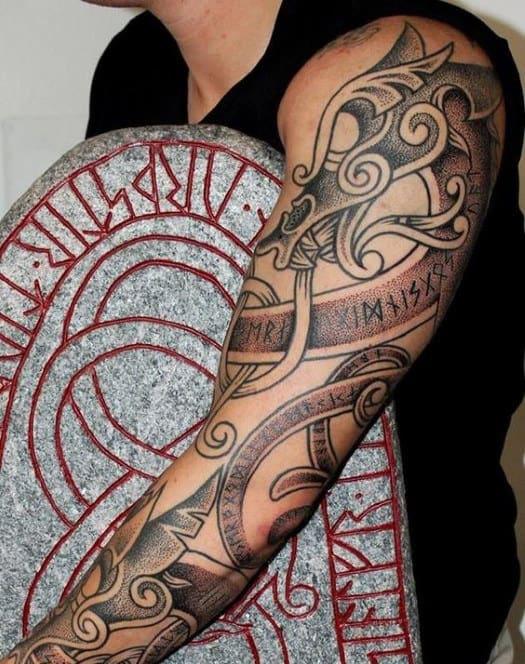 Masculine Full Arm Mens Nordic Runes Tattoo