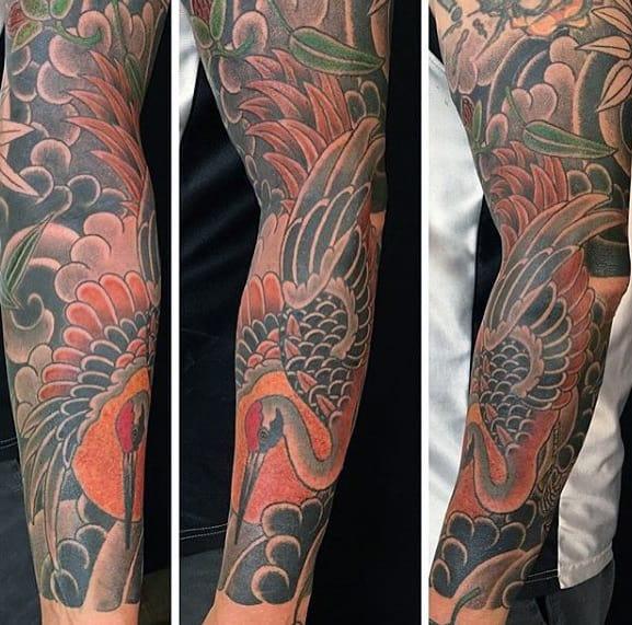 Masculine Full Arm Sleeve Guys Japanese Crane Tattoo