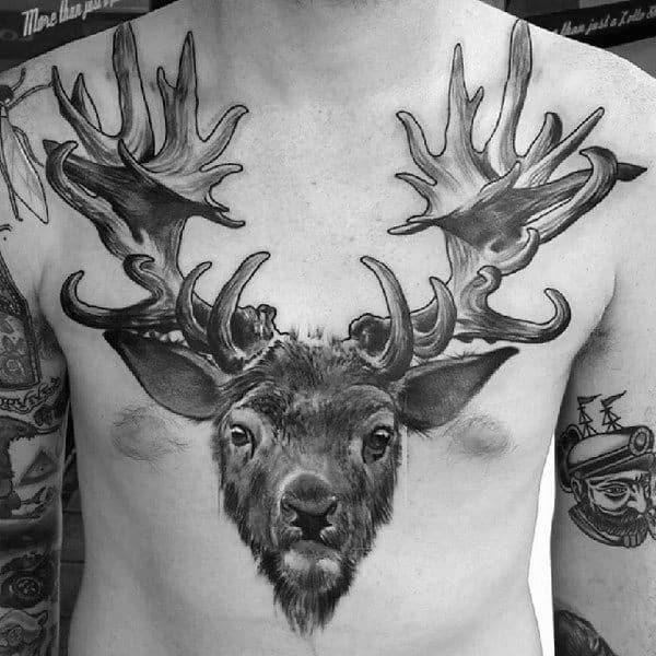Masculine Full Chest Deer Antler Tattoo Designs For Guys