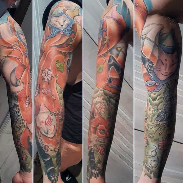Masculine Full Sleeve Kitsune Guys Nine Tail Fox Tattoos