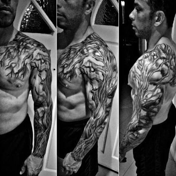 Masculine Full Sleeve Mens Family Tree Tattoo Ideas
