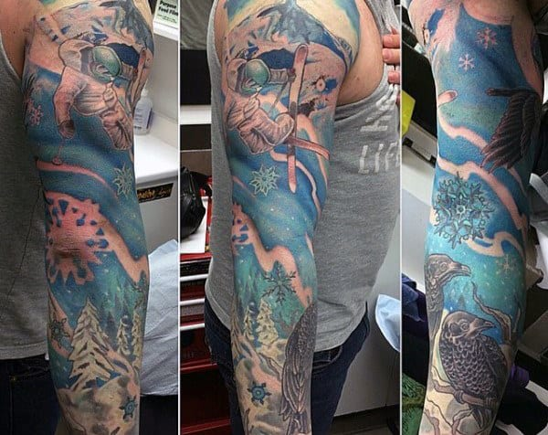 Masculine Full Sleeve Skiing Snow Slopes Mens Tattoo Designs