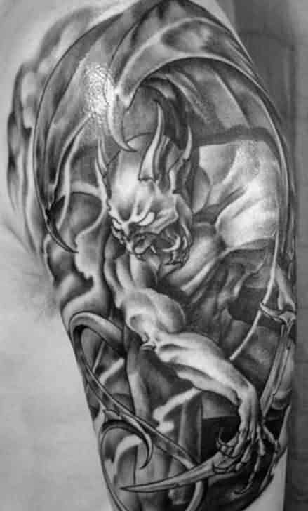 Masculine Gargoyle Guys Half Sleeve Grey Ink Tattoo Designs