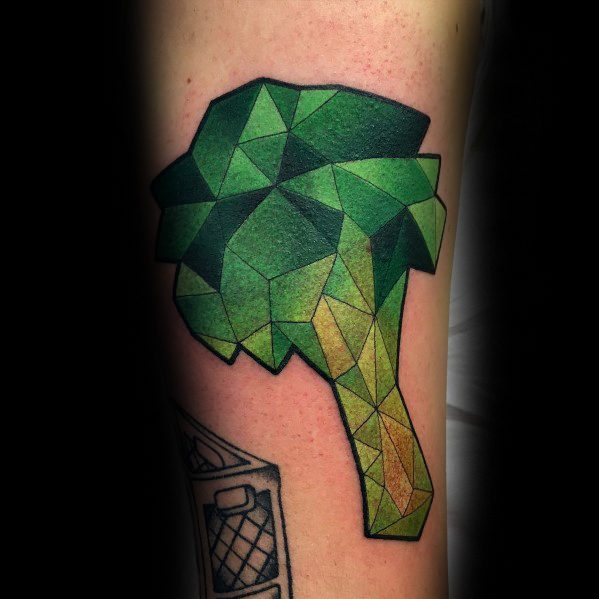 Masculine Geometric Broccoli Tattoos For Men