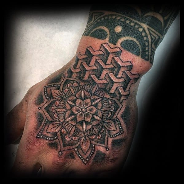 Masculine Geometric Floral Shapes Hand Tattoos For Men