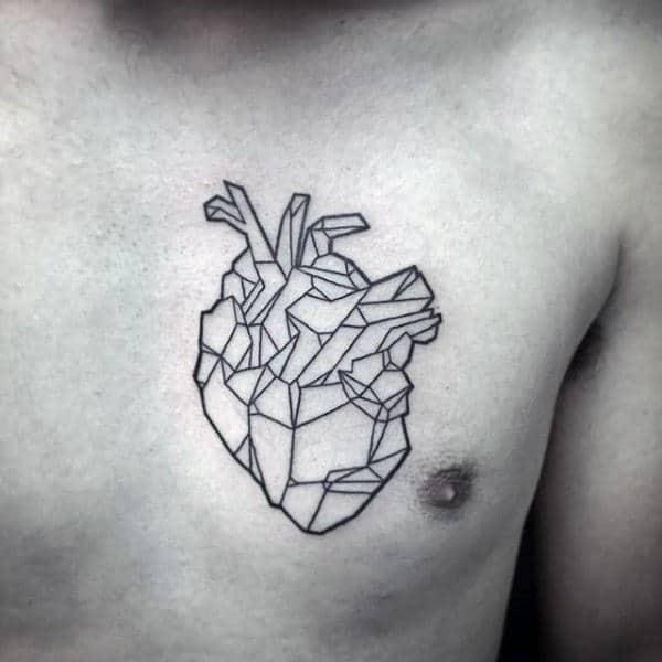 Masculine Geometric Heart Mens Chest Tattoo Designs