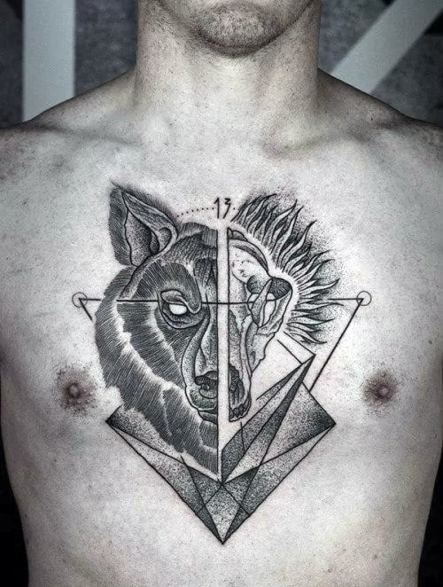 Masculine Geometric Wolf Chest Tattoos For Guys